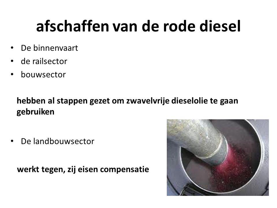 afschaffen van de rode diesel hebben al stappen gezet om zwavelvrije dieselolie te gaan gebruiken De binnenvaart de railsector bouwsector De landbouwsector werkt tegen, zij eisen compensatie