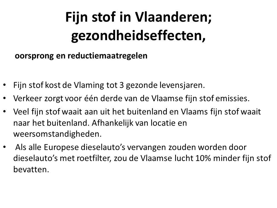 Fijn stof in Vlaanderen; gezondheidseffecten, oorsprong en reductiemaatregelen Fijn stof kost de Vlaming tot 3 gezonde levensjaren.