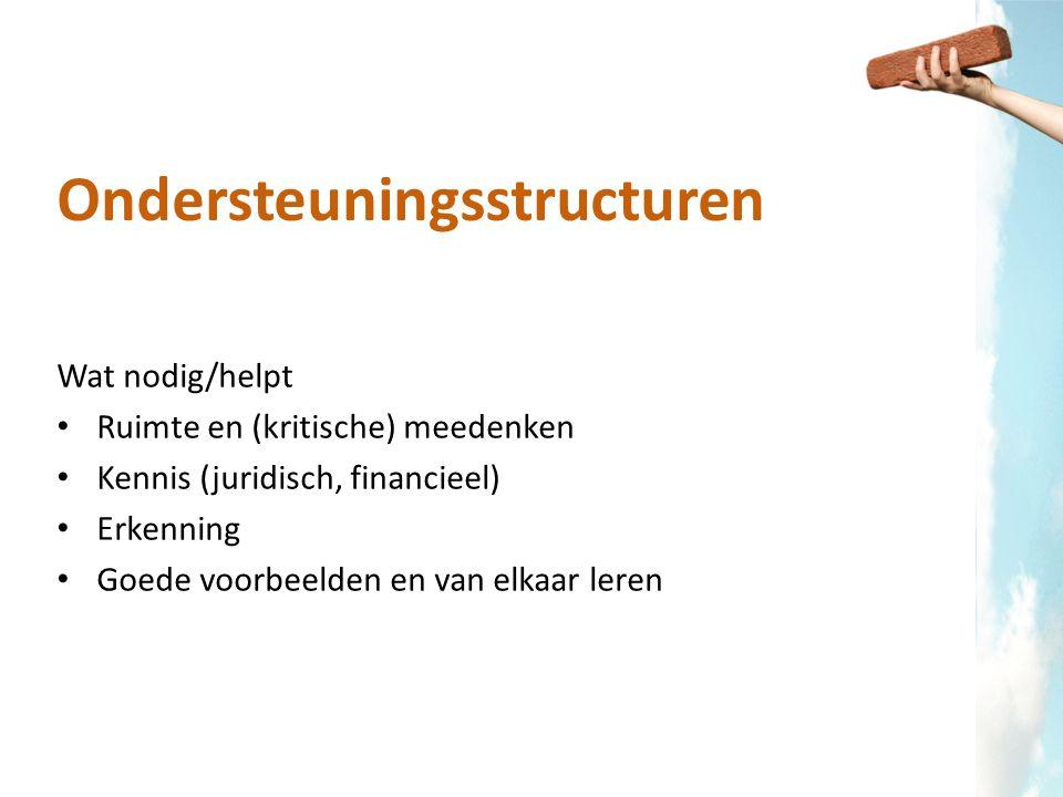 Ondersteuningsstructuren Wat nodig/helpt Ruimte en (kritische) meedenken Kennis (juridisch, financieel) Erkenning Goede voorbeelden en van elkaar lere