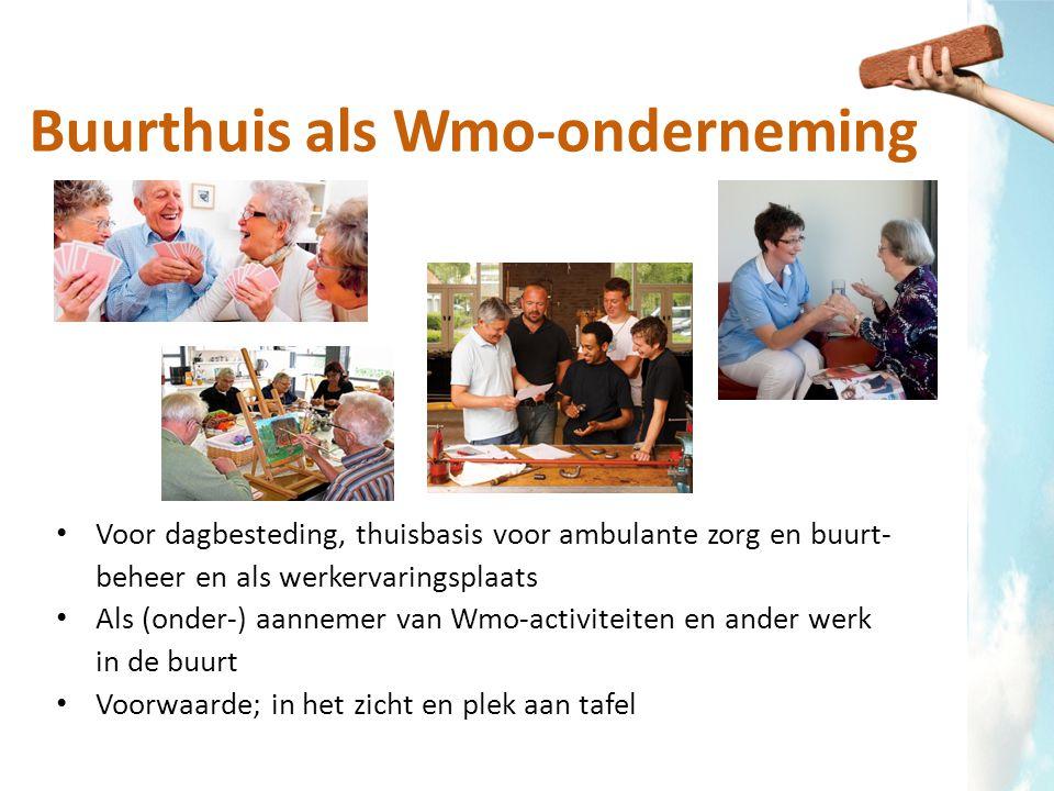 Buurthuis als Wmo-onderneming Voor dagbesteding, thuisbasis voor ambulante zorg en buurt- beheer en als werkervaringsplaats Als (onder-) aannemer van