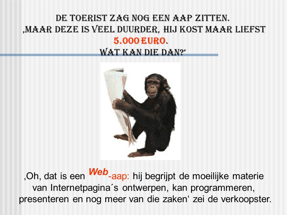 'Oh, dat is een Web -aap: hij begrijpt de moeilijke materie van Internetpagina´s ontwerpen, kan programmeren, presenteren en nog meer van die zaken' zei de verkoopster.