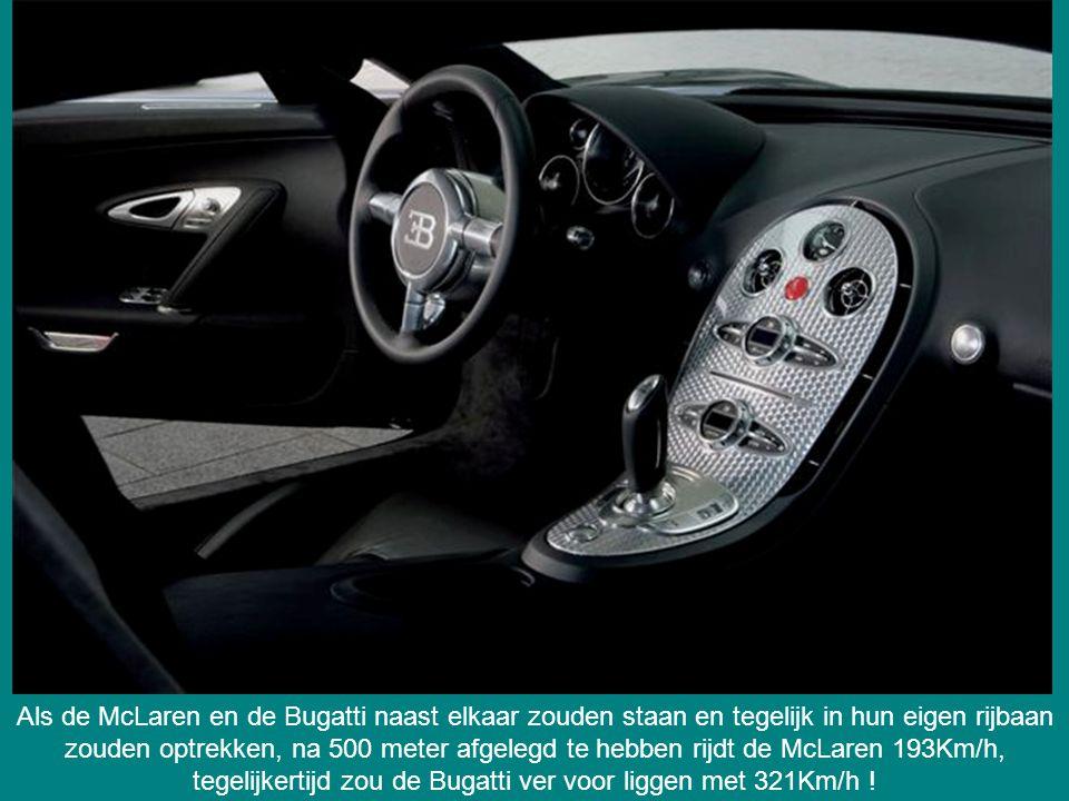 Als de McLaren en de Bugatti naast elkaar zouden staan en tegelijk in hun eigen rijbaan zouden optrekken, na 500 meter afgelegd te hebben rijdt de McLaren 193Km/h, tegelijkertijd zou de Bugatti ver voor liggen met 321Km/h !