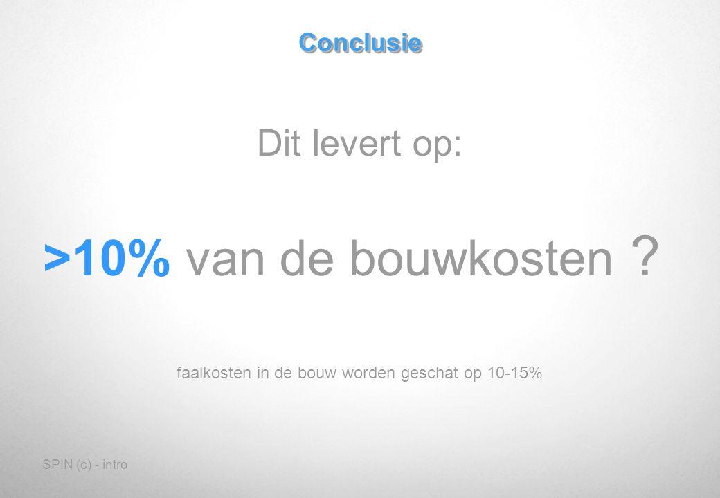 SPIN (c) - introConclusieConclusie Dit levert op: >10% van de bouwkosten .