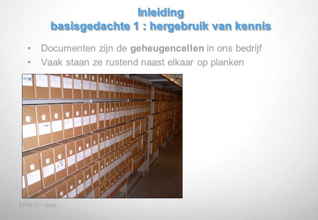 SPIN (c) - intro Documenten zijn de geheugencellen in ons bedrijf Vaak staan ze rustend naast elkaar op planken Inleiding basisgedachte 1 : hergebruik van kennis