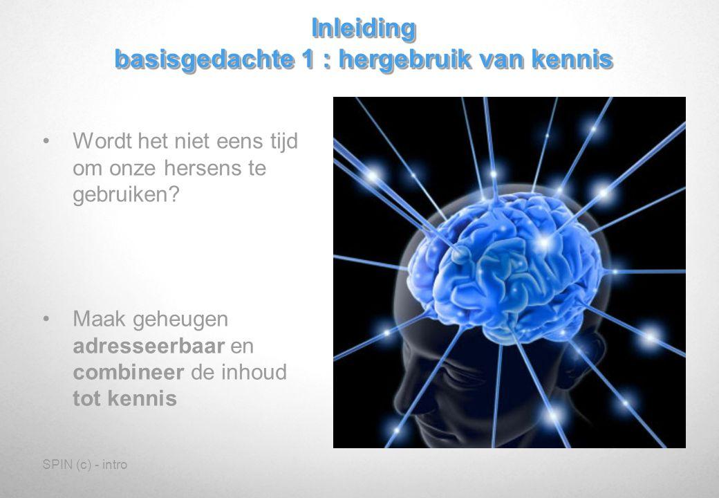 SPIN (c) - intro En deel de kennis Misschien zelfs met anderen Inleiding basisgedachte 2 : kennisdeling