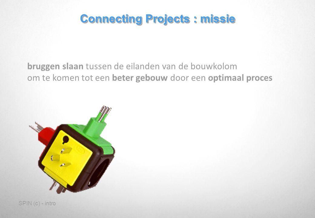 SPIN (c) - intro Connecting Projects : missie bruggen slaan tussen de eilanden van de bouwkolom om te komen tot een beter gebouw door een optimaal proces