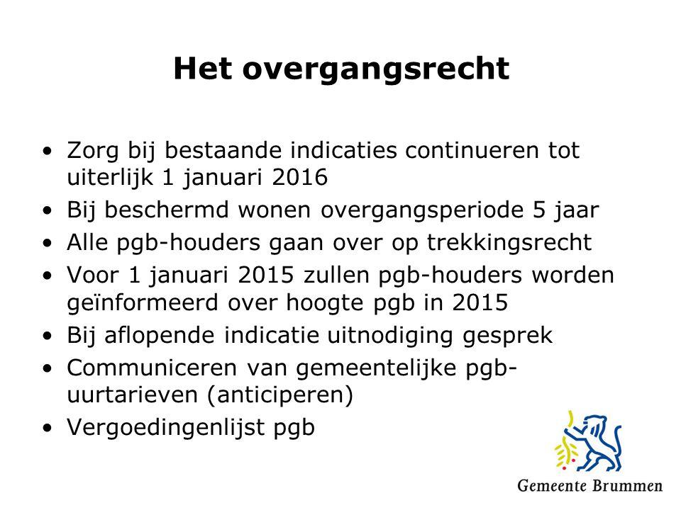 Het overgangsrecht Zorg bij bestaande indicaties continueren tot uiterlijk 1 januari 2016 Bij beschermd wonen overgangsperiode 5 jaar Alle pgb-houders