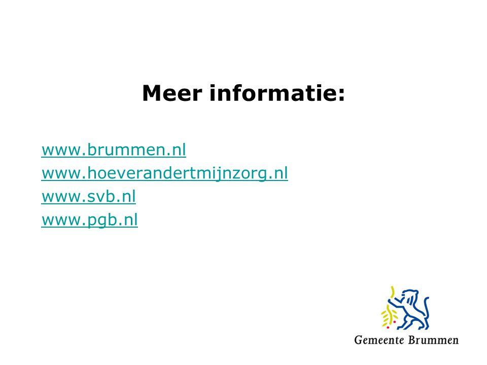 Meer informatie: www.brummen.nl www.hoeverandertmijnzorg.nl www.svb.nl www.pgb.nl