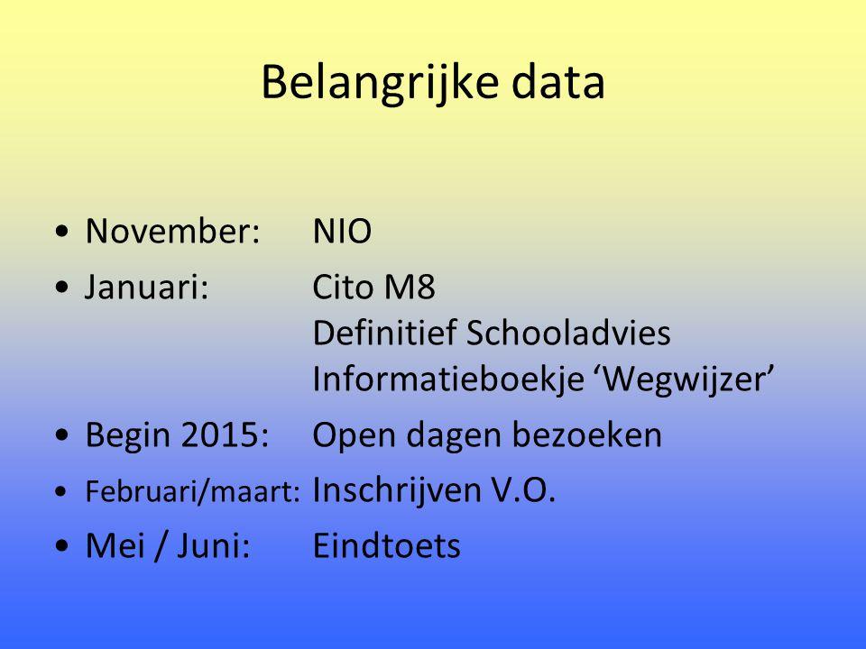 Belangrijke data November:NIO Januari:Cito M8 Definitief Schooladvies Informatieboekje 'Wegwijzer' Begin 2015:Open dagen bezoeken Februari/maart: Inschrijven V.O.