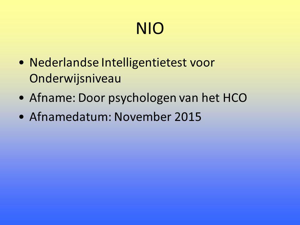 NIO Nederlandse Intelligentietest voor Onderwijsniveau Afname:Door psychologen van het HCO Afnamedatum: November 2015