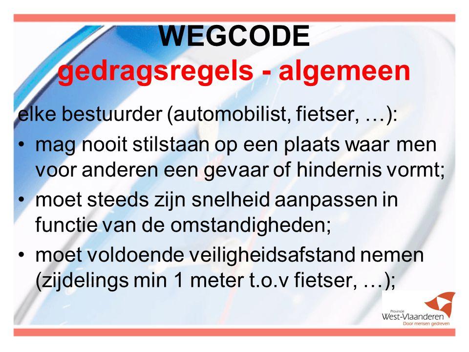 WEGCODE gedragsregels - algemeen elke bestuurder (automobilist, fietser, …): mag nooit stilstaan op een plaats waar men voor anderen een gevaar of hin