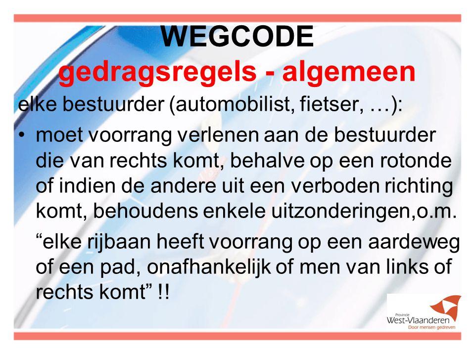 WEGCODE gedragsregels - algemeen elke bestuurder (automobilist, fietser, …): moet voorrang verlenen aan de bestuurder die van rechts komt, behalve op