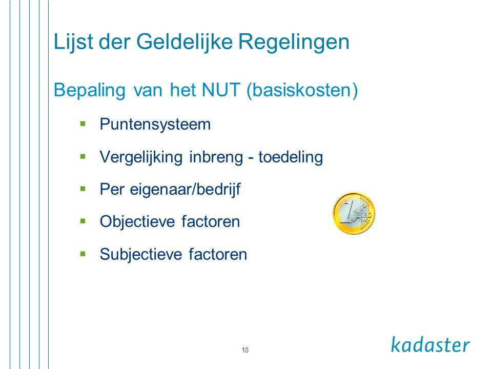 10 Lijst der Geldelijke Regelingen Bepaling van het NUT (basiskosten)  Puntensysteem  Vergelijking inbreng - toedeling  Per eigenaar/bedrijf  Obje
