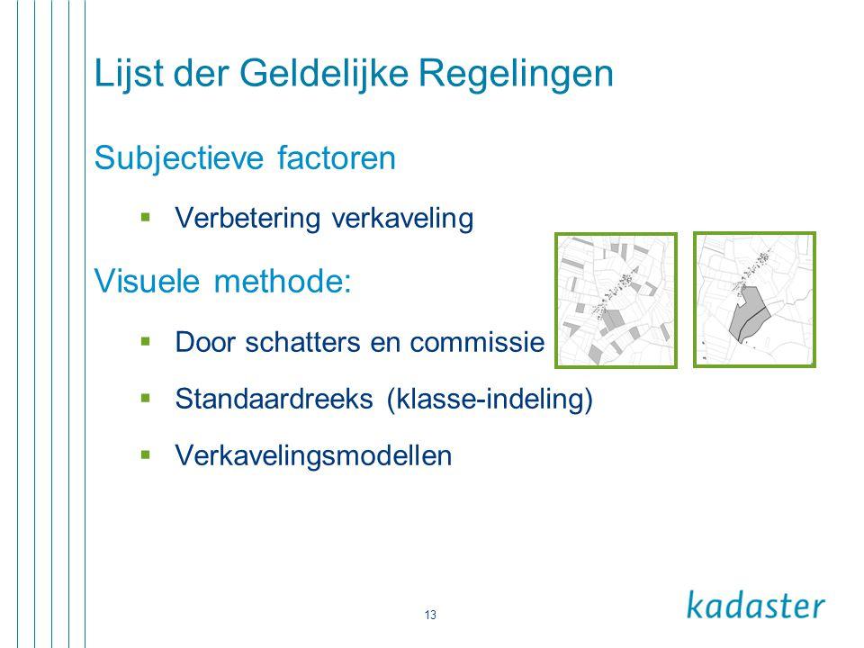 13 Lijst der Geldelijke Regelingen Subjectieve factoren  Verbetering verkaveling Visuele methode:  Door schatters en commissie  Standaardreeks (kla