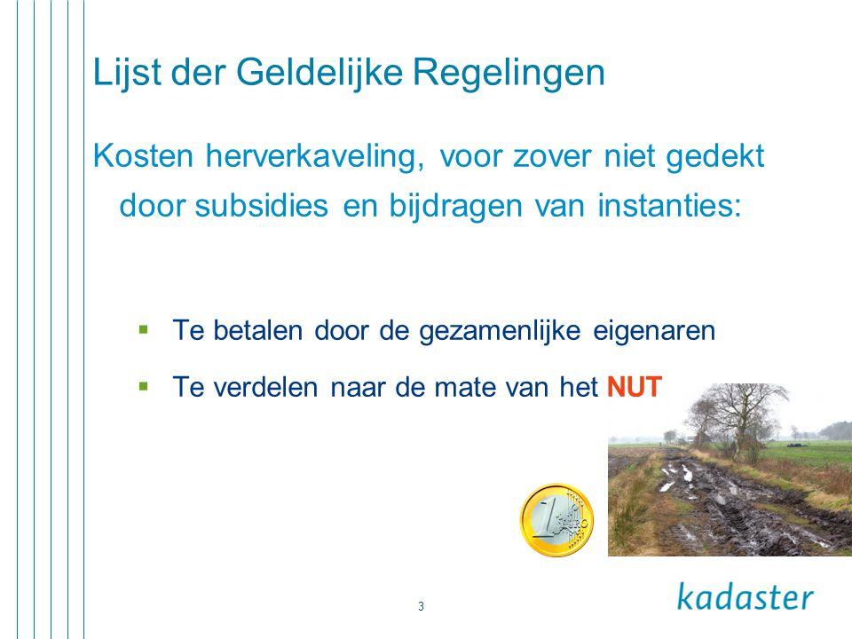 3 Lijst der Geldelijke Regelingen Kosten herverkaveling, voor zover niet gedekt door subsidies en bijdragen van instanties:  Te betalen door de gezam