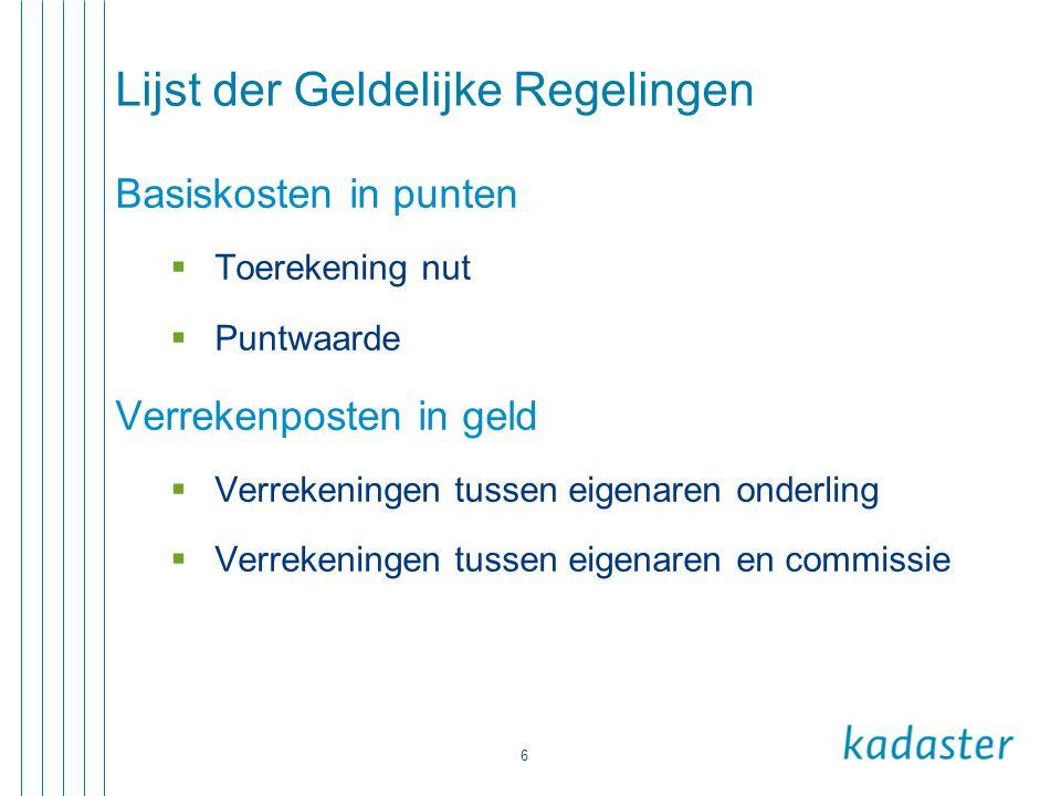 6 Lijst der Geldelijke Regelingen Basiskosten in punten  Toerekening nut  Puntwaarde Verrekenposten in geld  Verrekeningen tussen eigenaren onderli