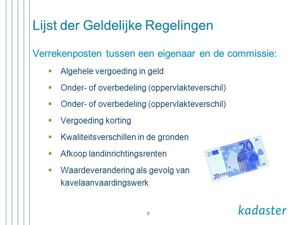 8 Lijst der Geldelijke Regelingen Verrekenposten tussen een eigenaar en de commissie:  Algehele vergoeding in geld  Onder- of overbedeling (oppervla