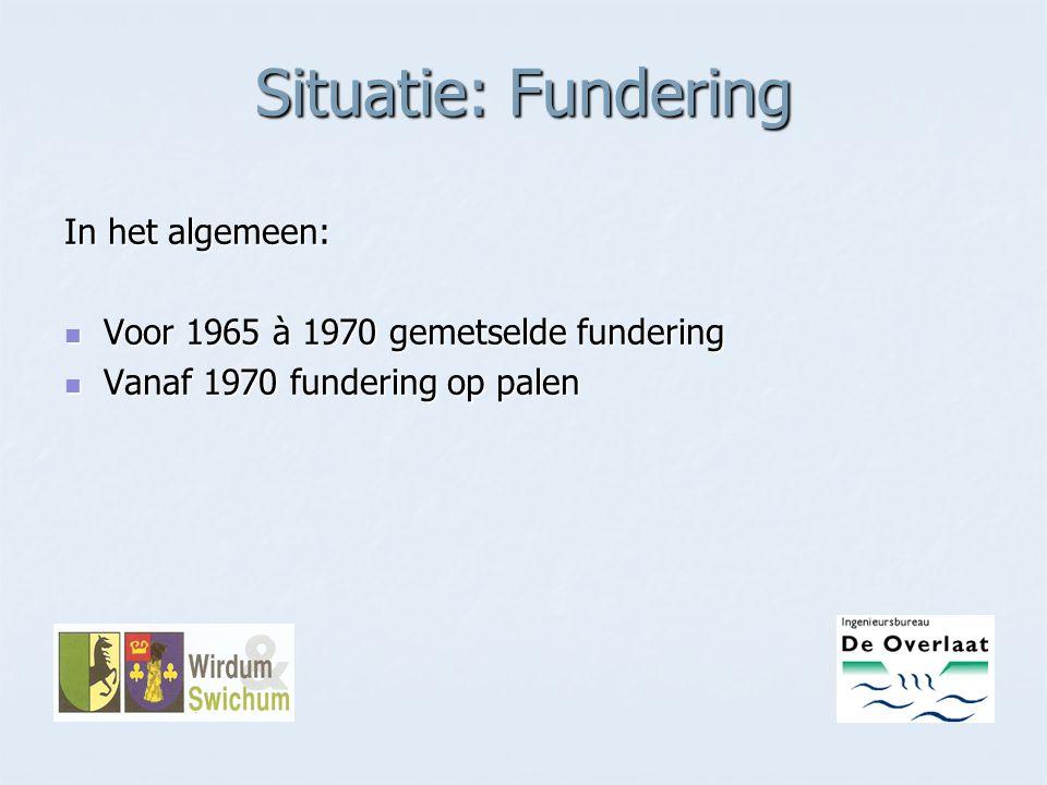 Situatie: Fundering In het algemeen: Voor 1965 à 1970 gemetselde fundering Voor 1965 à 1970 gemetselde fundering Vanaf 1970 fundering op palen Vanaf 1