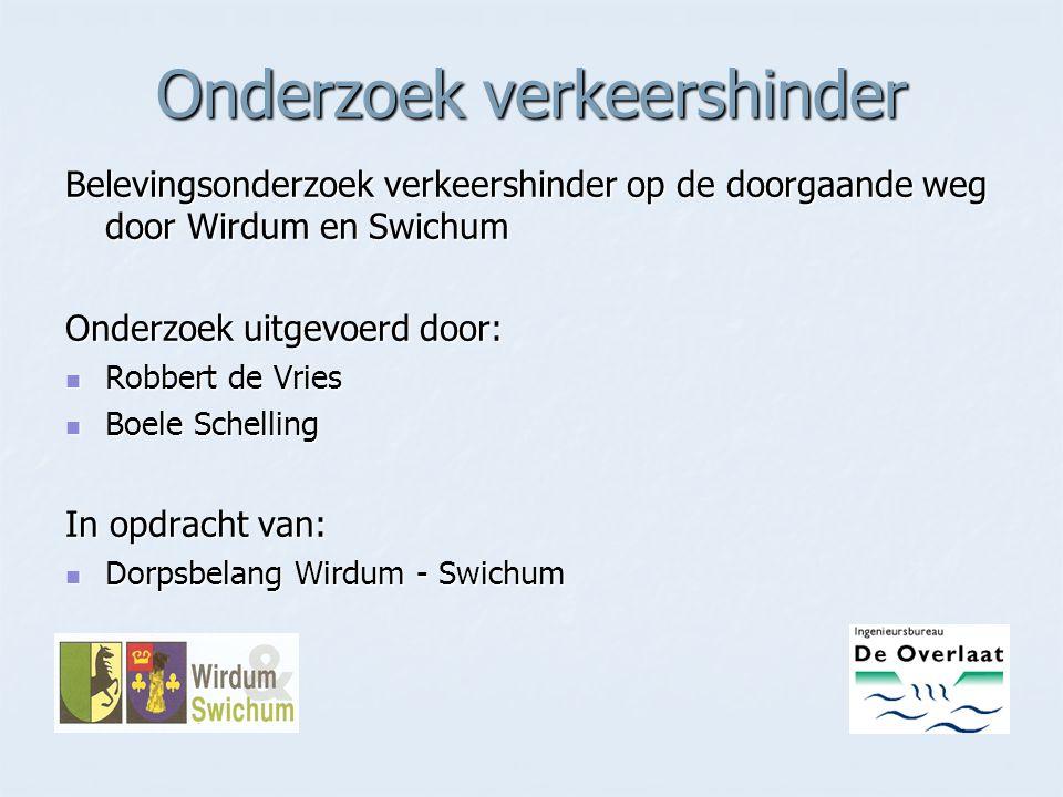 Belevingsonderzoek verkeershinder op de doorgaande weg door Wirdum en Swichum Onderzoek uitgevoerd door: Robbert de Vries Robbert de Vries Boele Schel