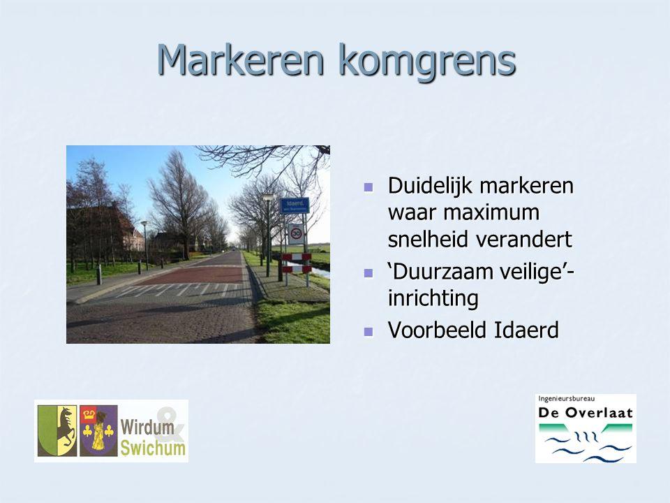 Markeren komgrens Duidelijk markeren waar maximum snelheid verandert Duidelijk markeren waar maximum snelheid verandert 'Duurzaam veilige'- inrichting