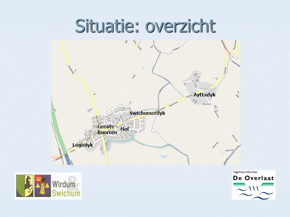 Situatie: overzicht Legedyk Greate Buorren Hof Swichumerdyk Ayttadyk