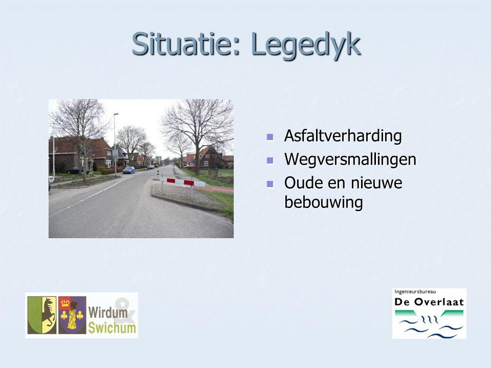 Situatie: Legedyk Asfaltverharding Asfaltverharding Wegversmallingen Wegversmallingen Oude en nieuwe bebouwing Oude en nieuwe bebouwing