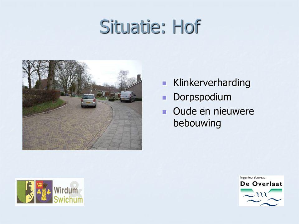 Situatie: Hof Klinkerverharding Klinkerverharding Dorpspodium Dorpspodium Oude en nieuwere bebouwing Oude en nieuwere bebouwing