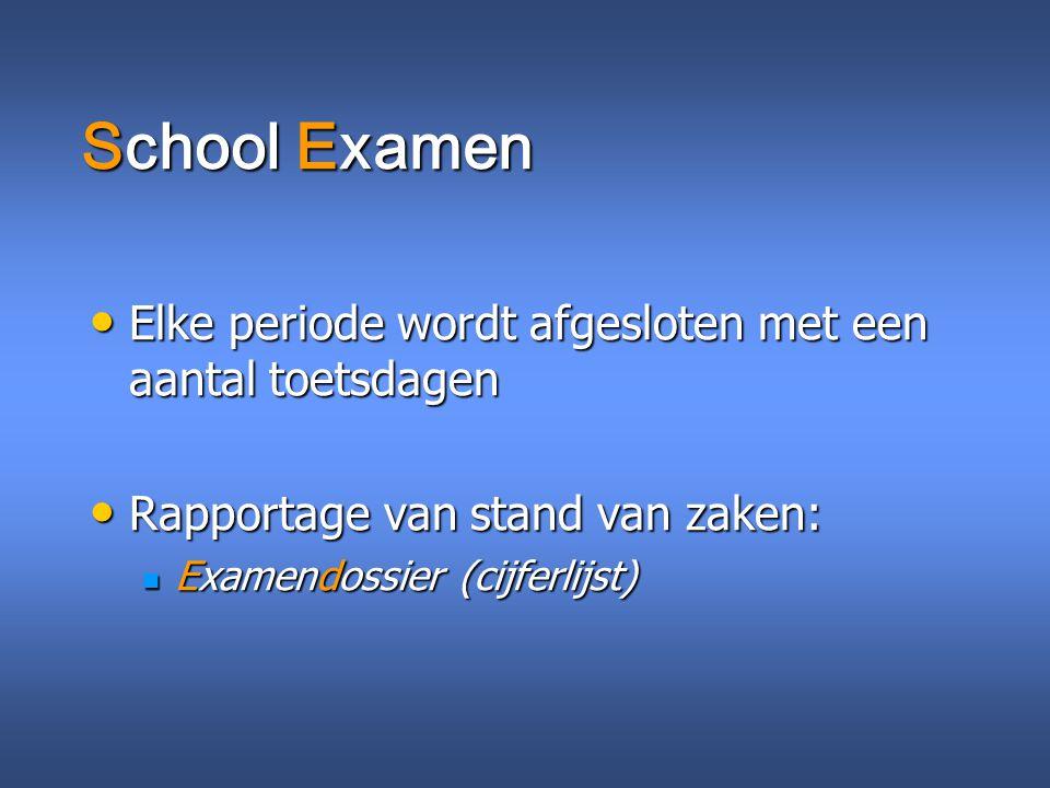 School Examen Elke periode wordt afgesloten met een aantal toetsdagen Elke periode wordt afgesloten met een aantal toetsdagen Rapportage van stand van