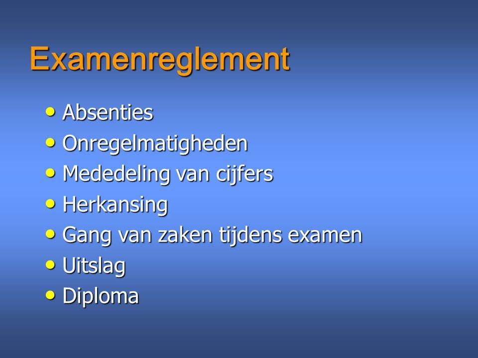 Examenreglement Absenties Absenties Onregelmatigheden Onregelmatigheden Mededeling van cijfers Mededeling van cijfers Herkansing Herkansing Gang van z