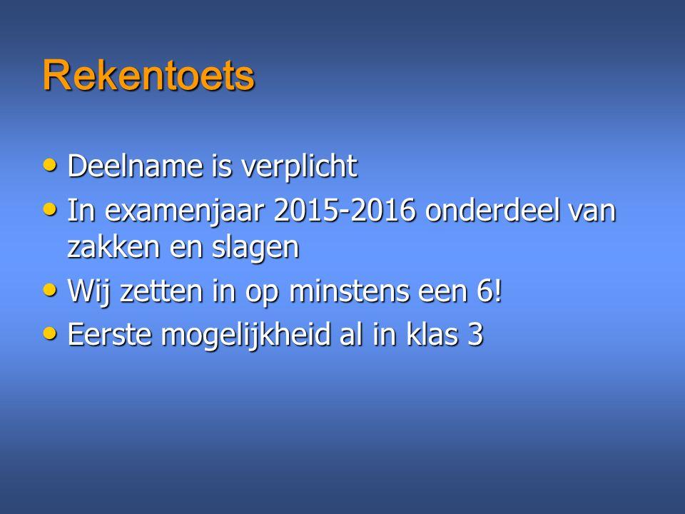 Rekentoets Deelname is verplicht Deelname is verplicht In examenjaar 2015-2016 onderdeel van zakken en slagen In examenjaar 2015-2016 onderdeel van za
