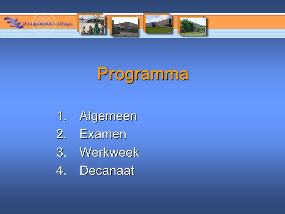 Programma 1.Algemeen 2.Examen 3.Werkweek 4.Decanaat