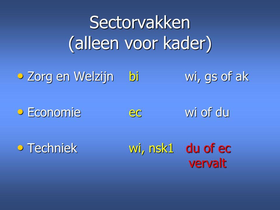 Sectorvakken (alleen voor kader) Zorg en Welzijnbiwi, gs of ak Zorg en Welzijnbiwi, gs of ak Economieecwi of du Economieecwi of du Techniekwi, nsk1 du
