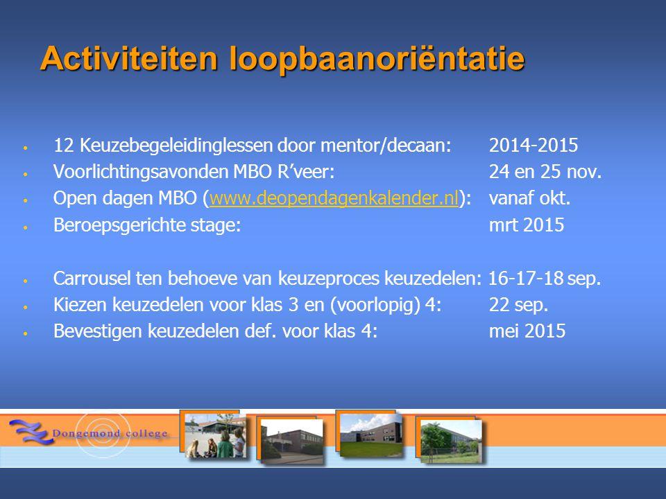 Activiteiten loopbaanoriëntatie 12 Keuzebegeleidinglessen door mentor/decaan: 2014-2015 Voorlichtingsavonden MBO R'veer: 24 en 25 nov. Open dagen MBO