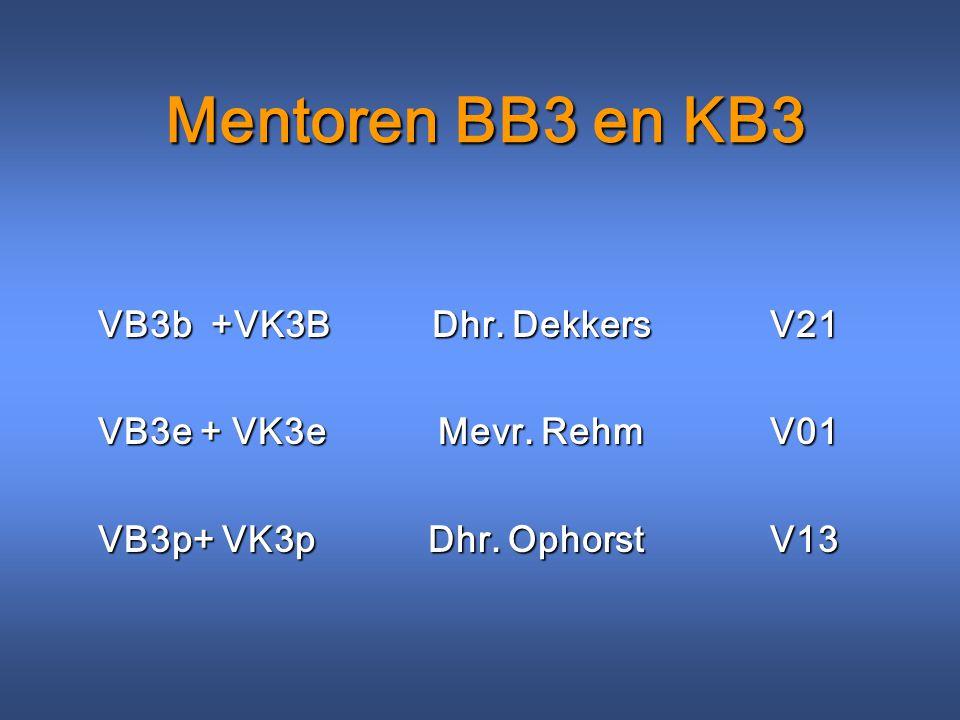 Mentoren BB3 en KB3 VB3b +VK3B Dhr. DekkersV21 VB3e + VK3e Mevr. RehmV01 VB3p+ VK3p Dhr. OphorstV13