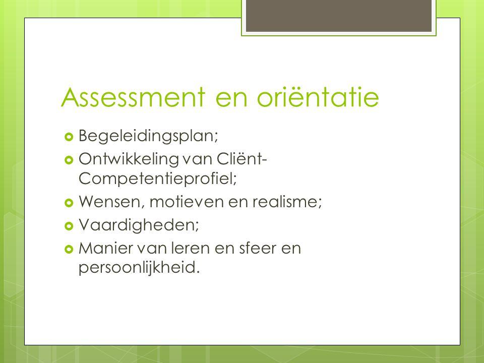 Assessment en oriëntatie  Begeleidingsplan;  Ontwikkeling van Cliënt- Competentieprofiel;  Wensen, motieven en realisme;  Vaardigheden;  Manier van leren en sfeer en persoonlijkheid.