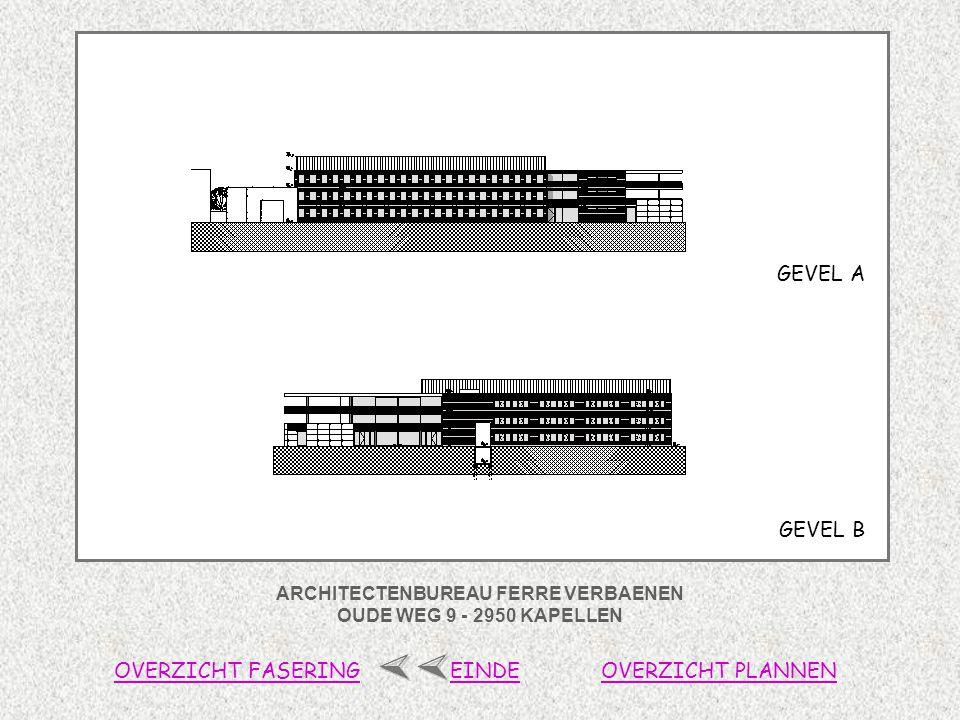 ARCHITECTENBUREAU FERRE VERBAENEN OUDE WEG 9 - 2950 KAPELLEN OVERZICHT FASERINGOVERZICHT PLANNENEINDE GEVEL B GEVEL A