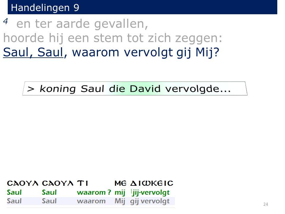 4 en ter aarde gevallen, hoorde hij een stem tot zich zeggen: Saul, Saul, waarom vervolgt gij Mij.