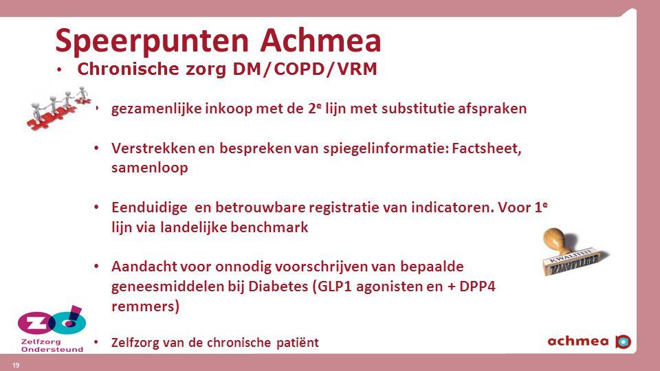 Speerpunten Achmea Chronische zorg DM/COPD/VRM gezamenlijke inkoop met de 2 e lijn met substitutie afspraken Verstrekken en bespreken van spiegelinfor