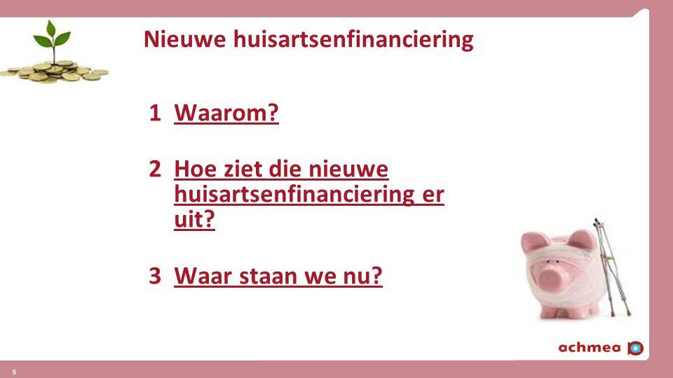 5 Nieuwe huisartsenfinanciering 1Waarom? 2Hoe ziet die nieuwe huisartsenfinanciering er uit? 3Waar staan we nu?