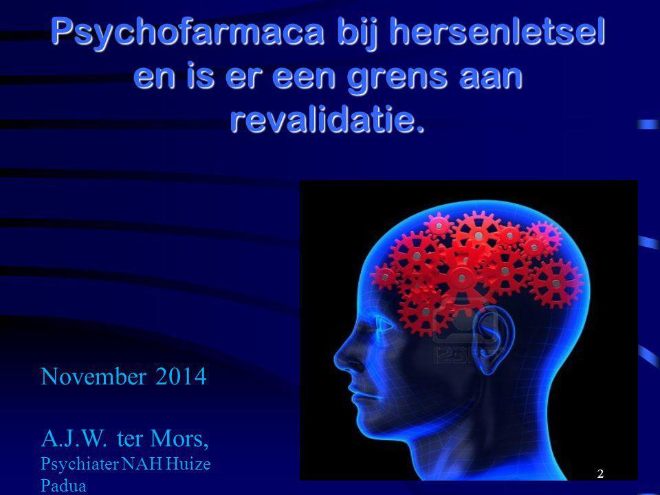 Presentatie Inleiding Algemene principes Psychofarmaca bij psychiatrische beelden Psychofarmaca voor gedrag en cognitie na hersenletsel Grenzen aan revalidatie.