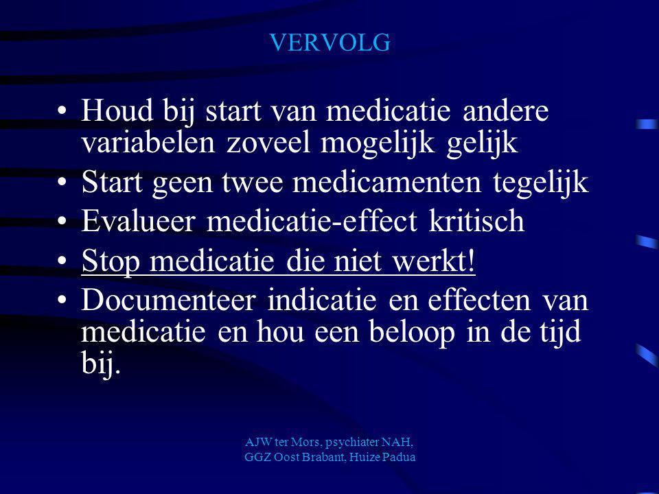 VERVOLG Houd bij start van medicatie andere variabelen zoveel mogelijk gelijk Start geen twee medicamenten tegelijk Evalueer medicatie-effect kritisch