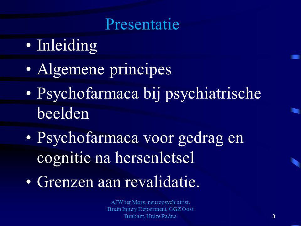 Presentatie Inleiding Algemene principes Psychofarmaca bij psychiatrische beelden Psychofarmaca voor gedrag en cognitie na hersenletsel Grenzen aan re