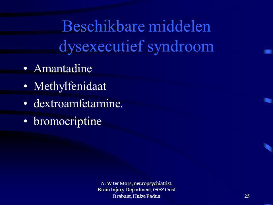 Beschikbare middelen dysexecutief syndroom Amantadine Methylfenidaat dextroamfetamine. bromocriptine AJW ter Mors, neuropsychiatrist, Brain Injury Dep