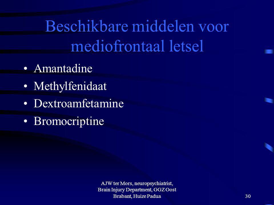 Beschikbare middelen voor mediofrontaal letsel Amantadine Methylfenidaat Dextroamfetamine Bromocriptine AJW ter Mors, neuropsychiatrist, Brain Injury