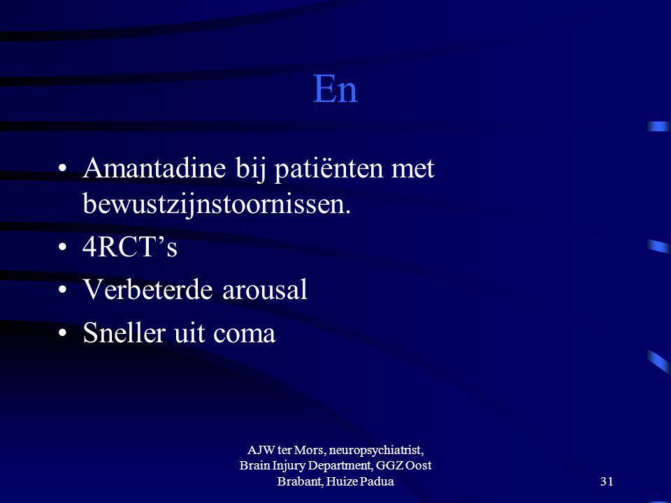 En Amantadine bij patiënten met bewustzijnstoornissen. 4RCT's Verbeterde arousal Sneller uit coma AJW ter Mors, neuropsychiatrist, Brain Injury Depart