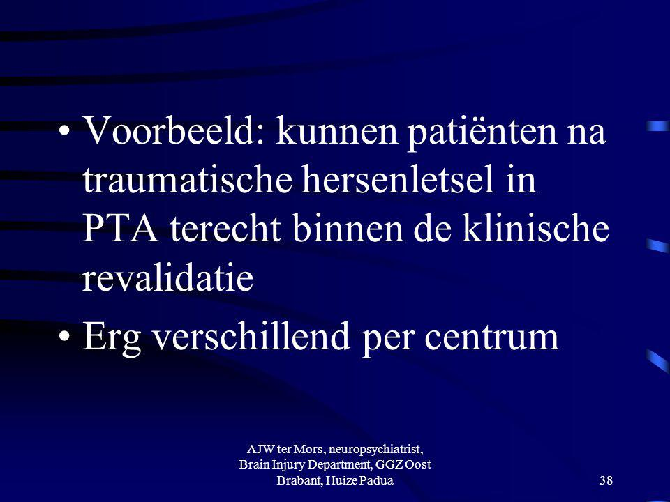 Voorbeeld: kunnen patiënten na traumatische hersenletsel in PTA terecht binnen de klinische revalidatie Erg verschillend per centrum AJW ter Mors, neu