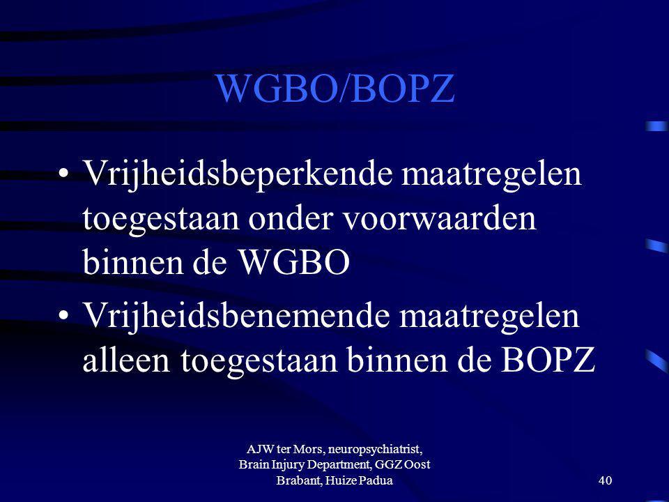 WGBO/BOPZ Vrijheidsbeperkende maatregelen toegestaan onder voorwaarden binnen de WGBO Vrijheidsbenemende maatregelen alleen toegestaan binnen de BOPZ
