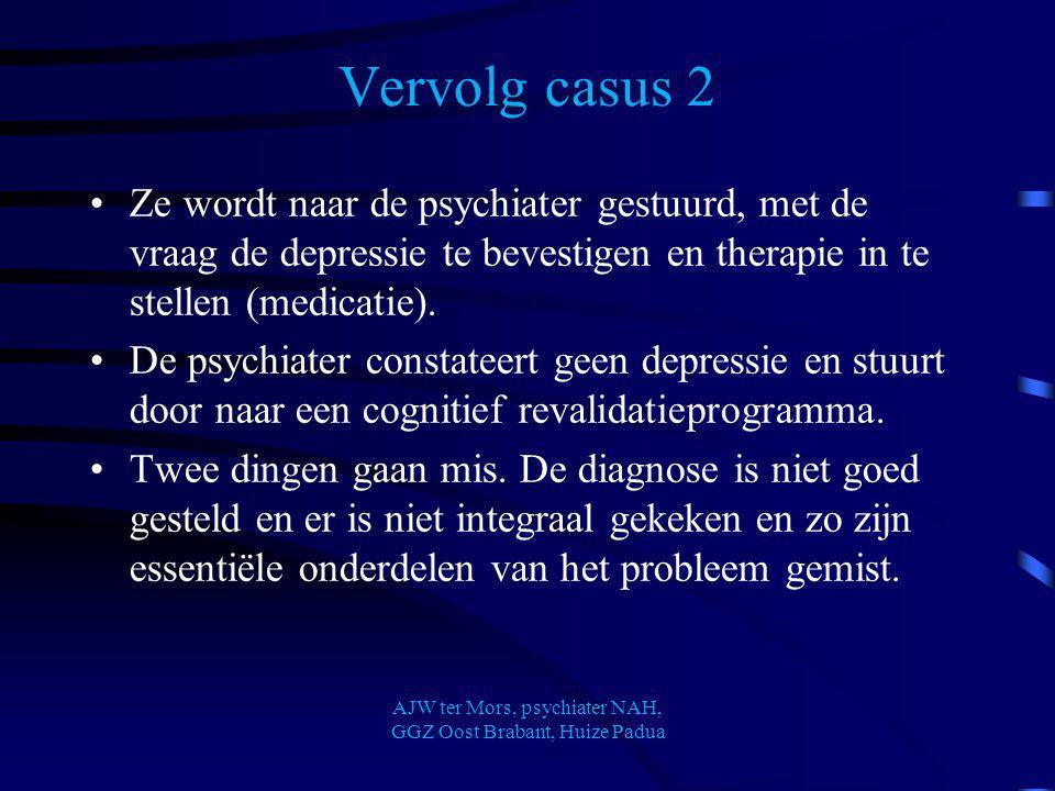 Vervolg casus 2 Ze wordt naar de psychiater gestuurd, met de vraag de depressie te bevestigen en therapie in te stellen (medicatie). De psychiater con