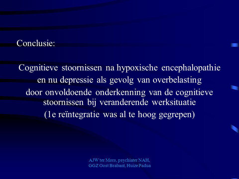 Conclusie: Cognitieve stoornissen na hypoxische encephalopathie en nu depressie als gevolg van overbelasting door onvoldoende onderkenning van de cogn