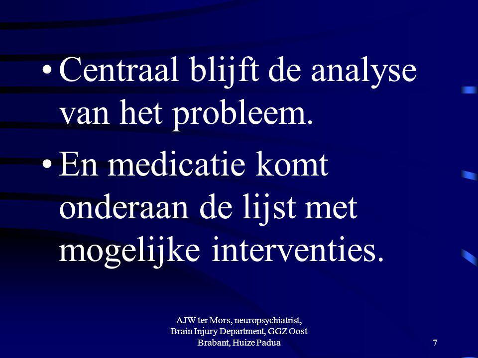 Voorbeeld: kunnen patiënten na traumatische hersenletsel in PTA terecht binnen de klinische revalidatie Erg verschillend per centrum AJW ter Mors, neuropsychiatrist, Brain Injury Department, GGZ Oost Brabant, Huize Padua38